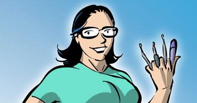 Wolvelie, assistante dentaire, super héros